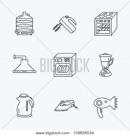 Dishwasher, kettle and mixer icons.