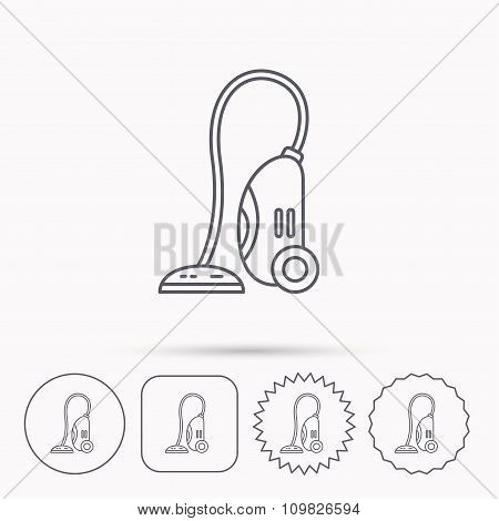 Vacuum cleaner icon. Housework device sign.