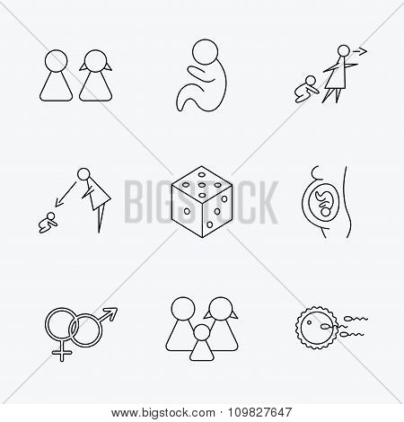 Pregnancy, pediatrics and family planning icons.