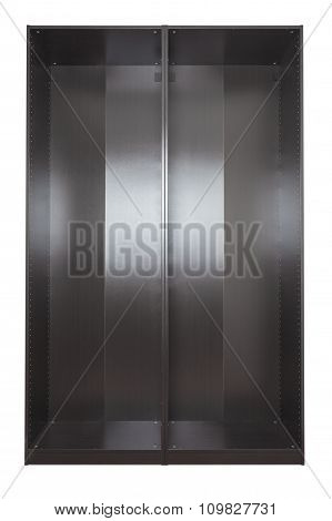 Brown black empty Wardrobe wooden frames. Isolated