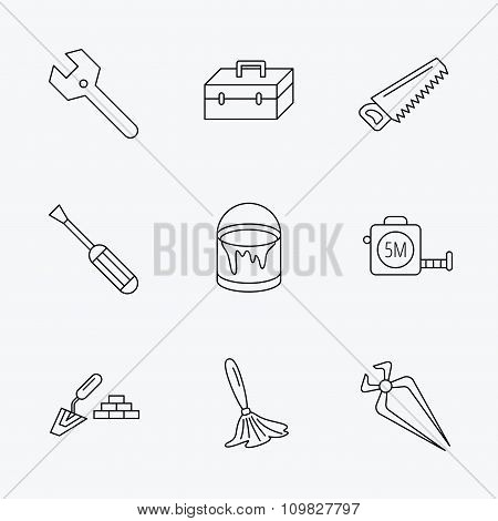 Wrench key, screwdriver and paint brush icons.