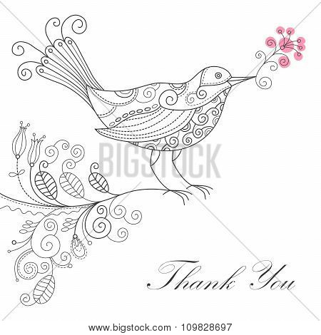 Vector grateful line drawing bird