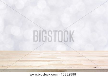 Wood Table Top On Shiny White Bokeh Abstract Background