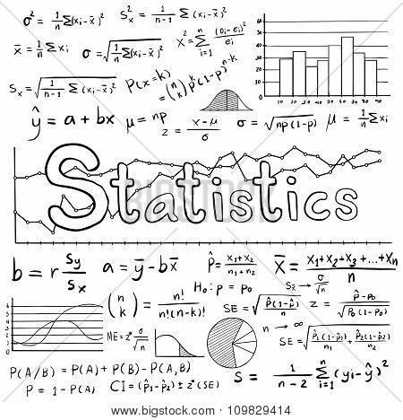 Statistic Math Law Theory And Mathematical Formula Equation Doodle Handwriting Icon With Graph Chart