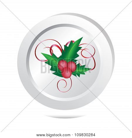 Holly Berry Sign Button Icon