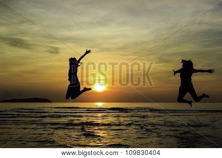 Happy Friend Jump Enjoy Sunrise