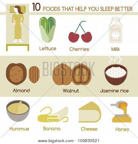 Ten Foods that help you sleep better vector