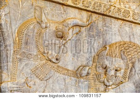 Lion and bull relief detail Persepolis