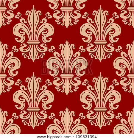 Vintage seamless fleur-de-lis floral pattern