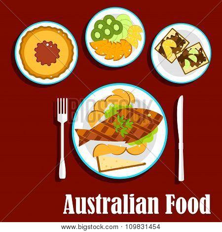 Fresh australian cuisine dishes, flat style