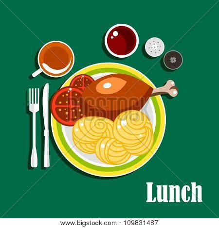 Lunch with chicken leg, sauce, noodles and tea