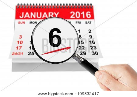 Epiphany Day Concept. 6 January 2016 Calendar With Magnifier On A White