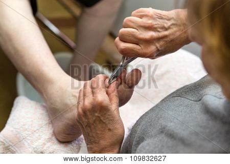 Chiropodist With A Nail Scissors