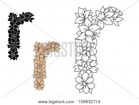 Floral font lowercase letter r