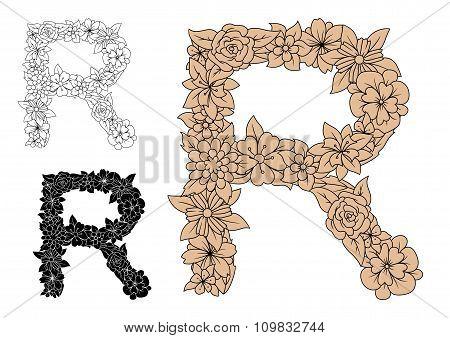 Brown vintage floral uppercase letter R