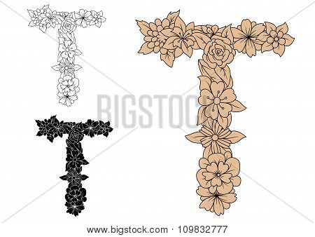 Floral letter T with retro flower blossoms