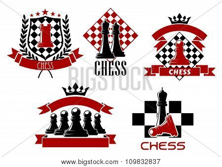 Chess game sporting club emblems design
