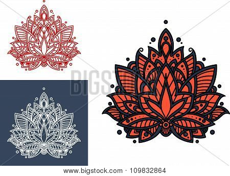 Coral persian paisley flower with oriental pattern
