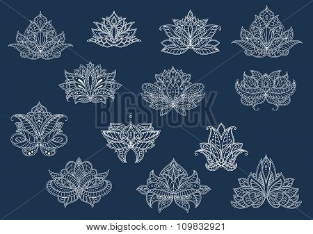 Isolated paisley flowers set in outline style