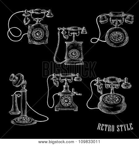 Vintage rotary dial telephone sketch icons