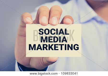 Social Media Marketing, Message On The Card Shown By A Man