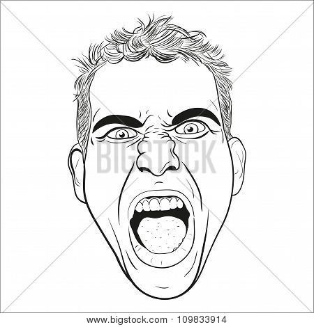 Vector Head Of A Screaming  Young Men.