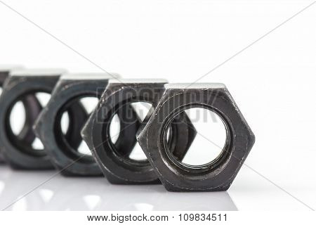Close Up Metal Nuts.