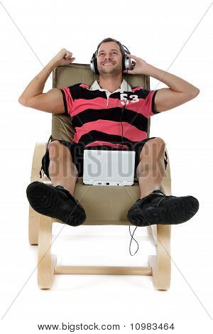 Handsome Young Caucasian Man, Listening Music.