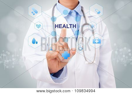 Doctor hand touching E-HEALTH sign on virtual screen. medical concept