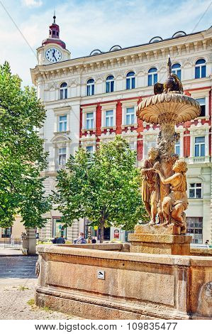 Historical Fountain  And Views Of Prague, Architectural, Street, Life Of The Czech Capital. Czech Re