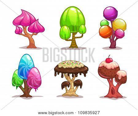 Cartoon sweet candy tree
