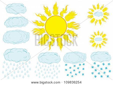 Clipart with the sun and clouds