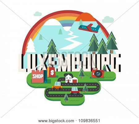 Luxembourg in europe is a beautiful country to visit. vintage vector illustration.