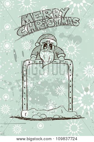 Hand Drawn Santa's Panel doodle sketch with Vintage themed background. Ideal for your Chrstmas  Vintage menu or cards.