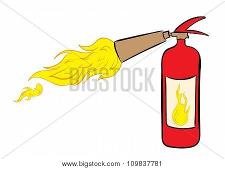 Fire extinguisher and flame
