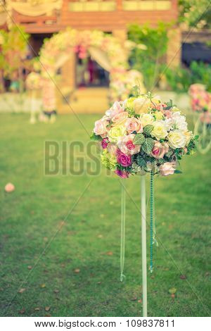 Decoration artificial flower ( Filtered image processed vintage effect. )
