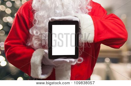 Santa Claus holding a tablet computer