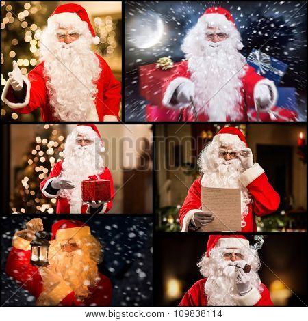 Portraits of Santa Claus in different scenes