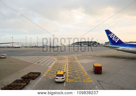HONG KONG - NOVEMBER 16, 2015: jet flights in Hong Kong Airport. Hong Kong International Airport is the main airport in Hong Kong. It is located on the island of Chek Lap Kok