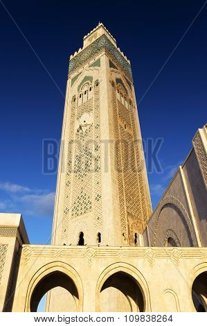The Hassan II Mosque, located in Casablanca is the largest mosque in Morocco and the third largest mosque in the world after the Grand Mosque of Mecca and the Prophet's Mosque in Medina