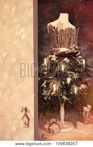 Open wooden door into Christmas with vintage mannequin with gifts