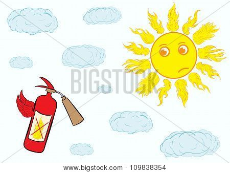 Fire extinguisher and sun