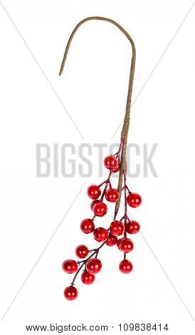 Christmas decoration red berries holly isolated on white background