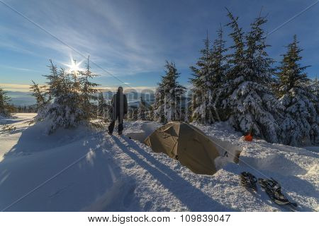 tent in the high mountain on winter time