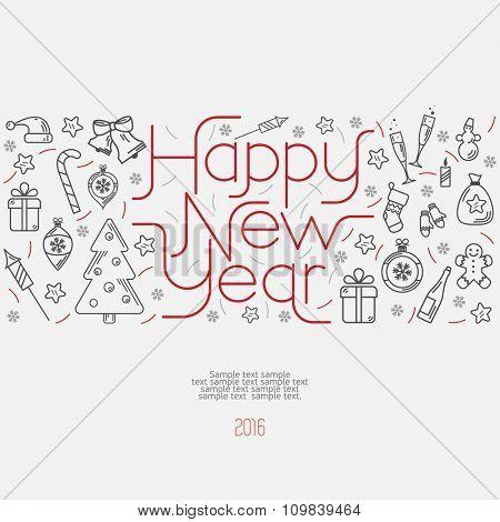 Happy New Year decorative illustration. Flat design.