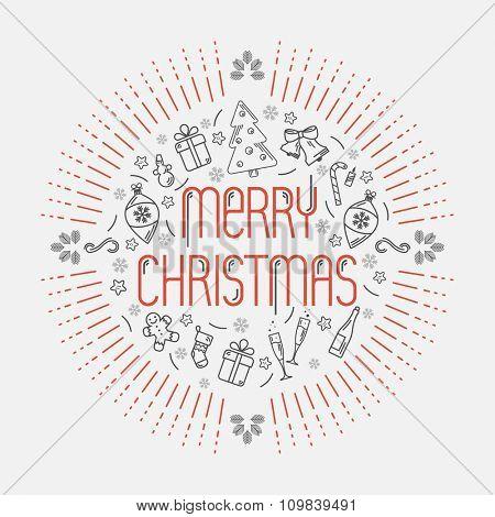 Christmas decorative illustration. Flat design.