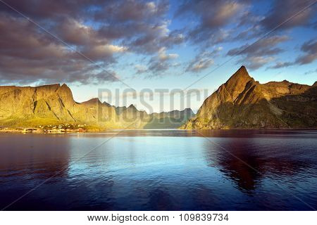 sunset in Lofoten islands, Norway