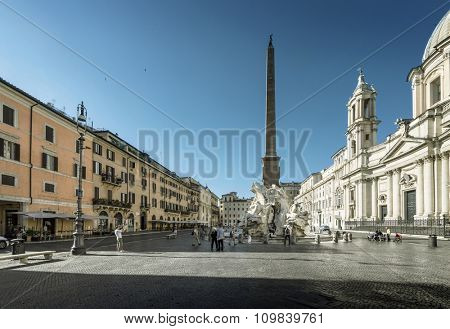 Piazza Navona in morning time, Rome. Italy