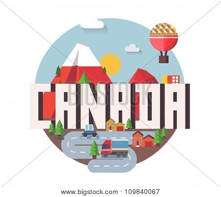 Canada in north america is a beautiful country to visit. vintage vector illustration.