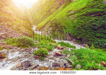 Beautiful mountain river in stone valley in Nepal. Annapurna trekking